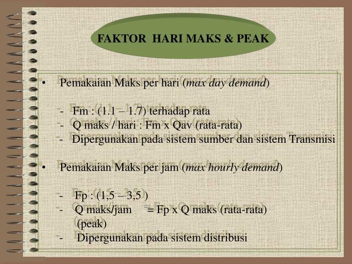 FAKTOR  HARI MAKS & PEAK