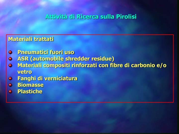 Attività di Ricerca sulla Pirolisi