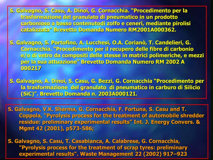 """S. Galvagno, S. Casu, A. Dinoi, G. Cornacchia. """"Procedimento per la trasformazione del granulato di pneumatico in un prodotto carbonioso a basso contenutodi zolfo e ceneri, mediante pirolisi catalizzata"""" Brevetto Domanda Numero RM2001A000362."""
