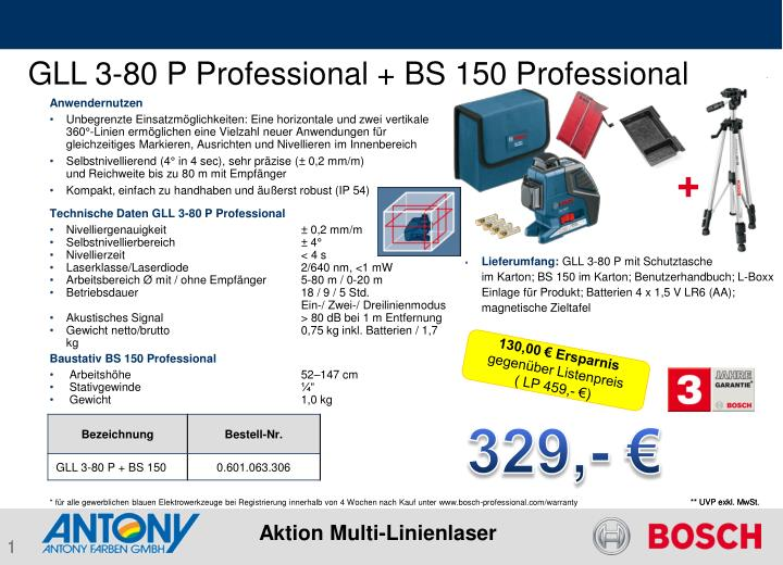 GLL 3-80 P Professional + BS 150 Professional