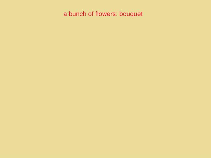 a bunch of flowers: bouquet