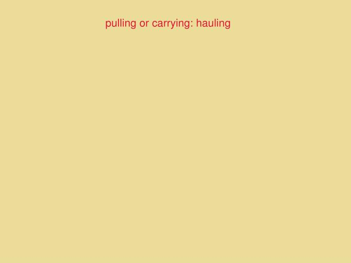 pulling or carrying: hauling