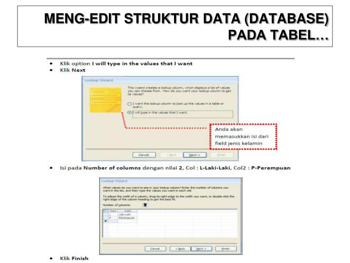 MENG-EDIT STRUKTUR DATA (DATABASE) PADA TABEL…