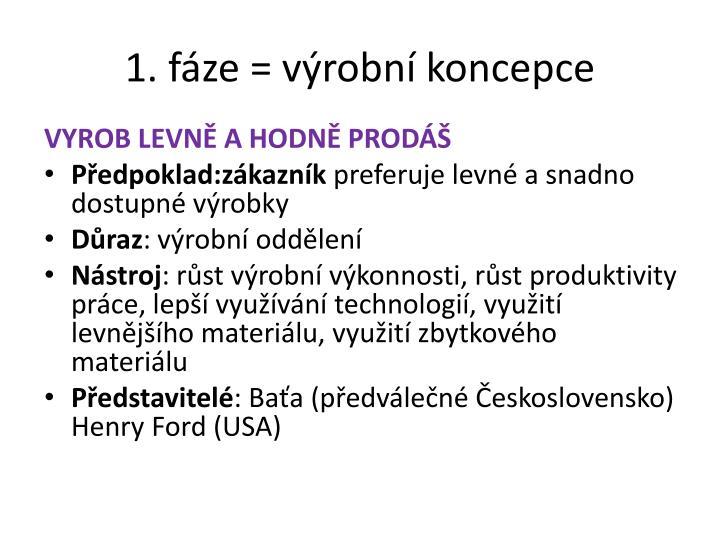 1. fáze = výrobní koncepce
