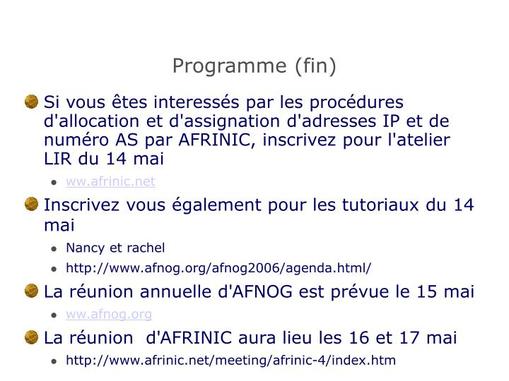 Programme (fin)