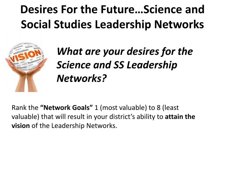 Desires For the Future…Science and Social Studies Leadership Networks