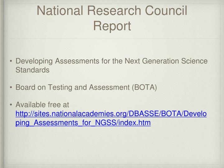 National Research Council Report