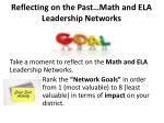 reflecting on the past math and ela leadership networks