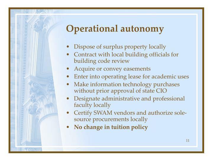 Operational autonomy