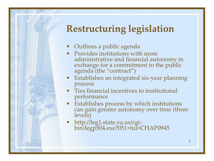 Restructuring legislation