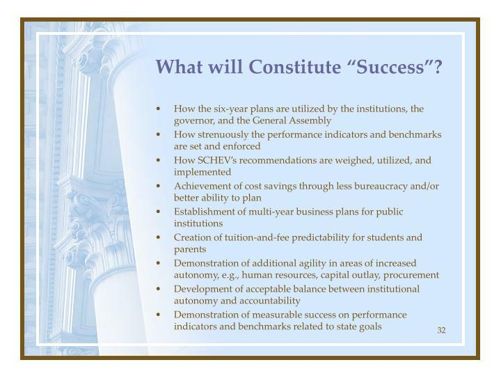 "What will Constitute ""Success""?"
