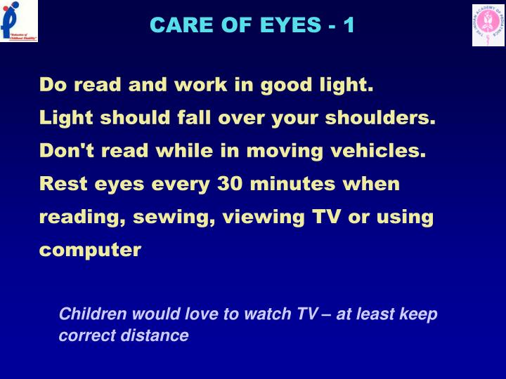 CARE OF EYES - 1