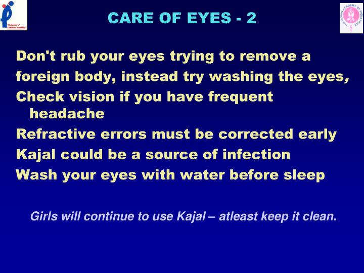 CARE OF EYES - 2