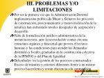 iii problemas y o limitaciones
