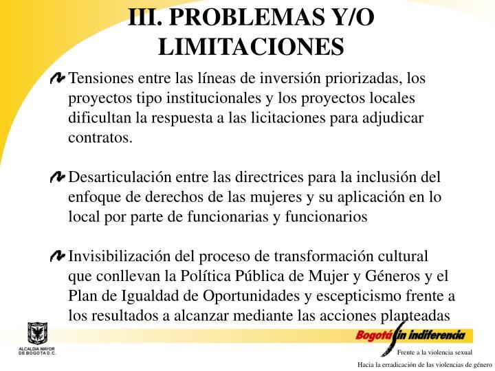 III. PROBLEMAS Y/O LIMITACIONES