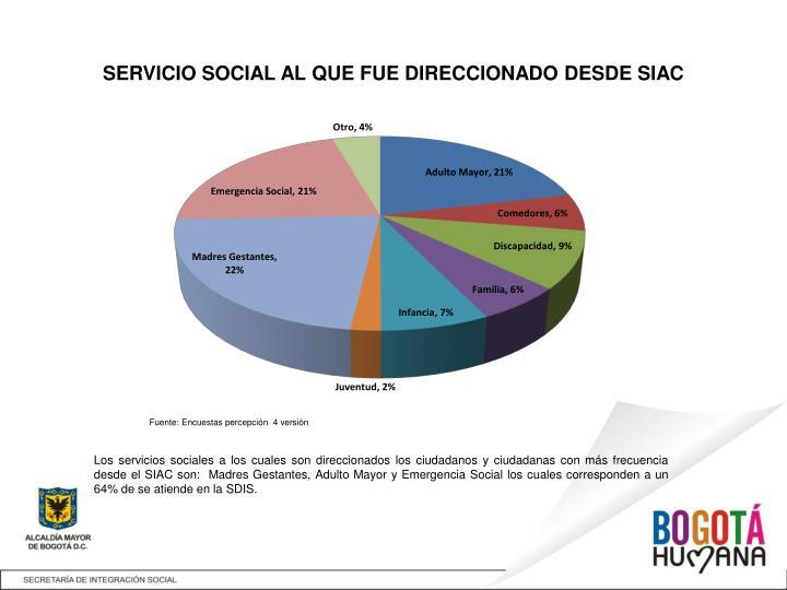 SERVICIO SOCIAL AL QUE FUE DIRECCIONADO DESDE SIAC