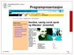 programpresentasjon