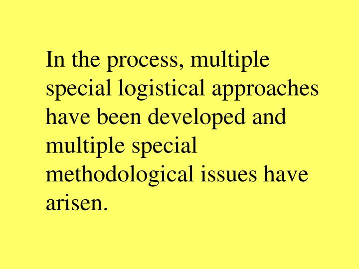 In the process, multiple special logistical approaches have been developed and multiple special methodological issues have arisen.