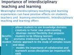 importance of interdisciplinary teaching and learning