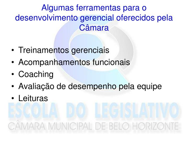 Algumas ferramentas para o desenvolvimento gerencial oferecidos pela Câmara