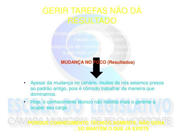 GERIR TAREFAS NÃO DÁ RESULTADO