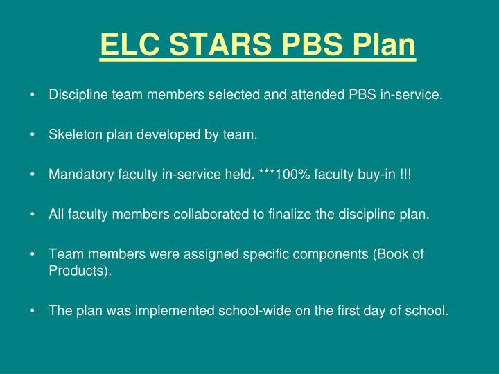 ELC STARS PBS Plan