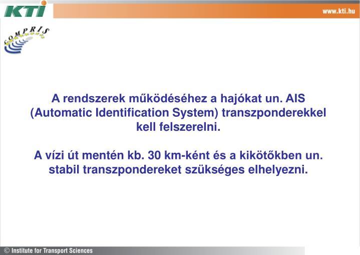 A rendszerek működéséhez a hajókat un. AIS (Automatic Identification System) transzponderekkel kell felszerelni.