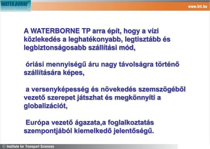 A WATERBORNE TP arra épít, hogy a vízi közlekedés a leghatékonyabb, legtisztább és legbiztonságosabb szállítási mód,
