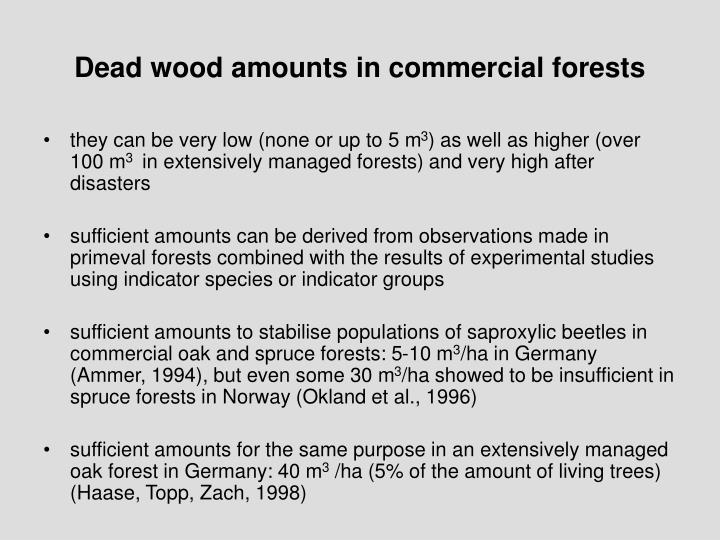 Dead wood amounts in commercial forests
