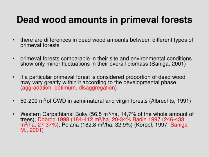 Dead wood amounts in primeval forests