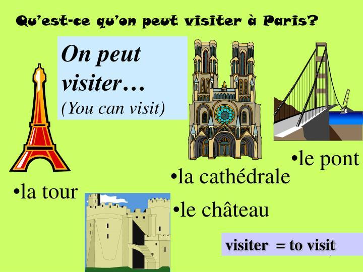 Qu'est-ce qu'on peut visiter à Paris?