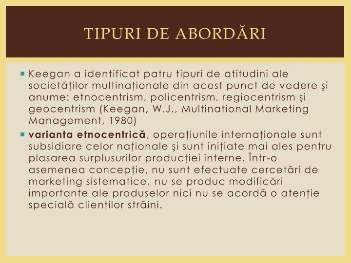 TIPURI DE ABORDĂRI