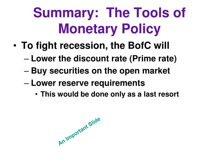 Summary:  The Tools of Monetary Policy