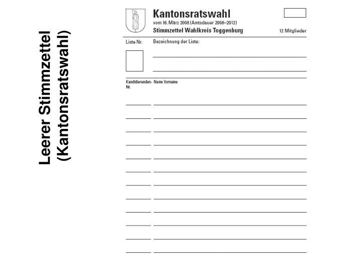 Leerer Stimmzettel