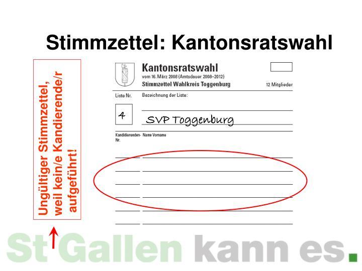 Stimmzettel: Kantonsratswahl