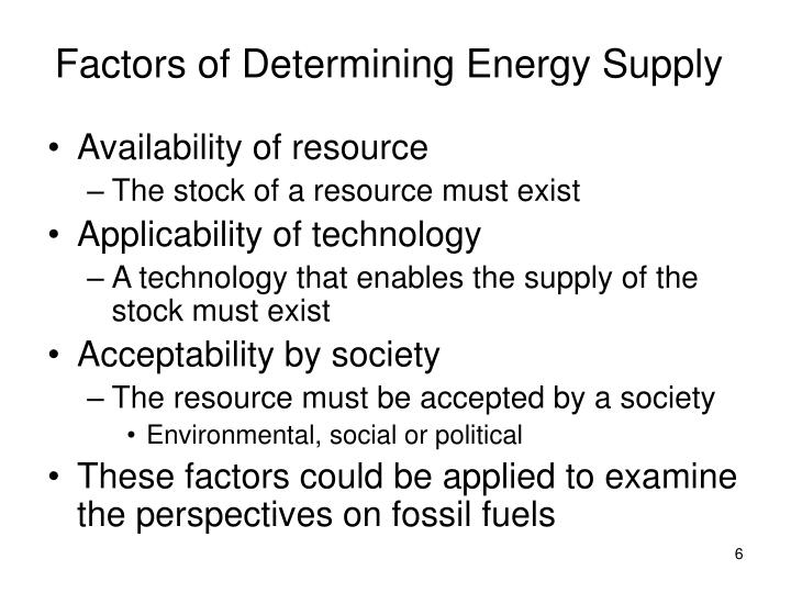 Factors of Determining Energy Supply