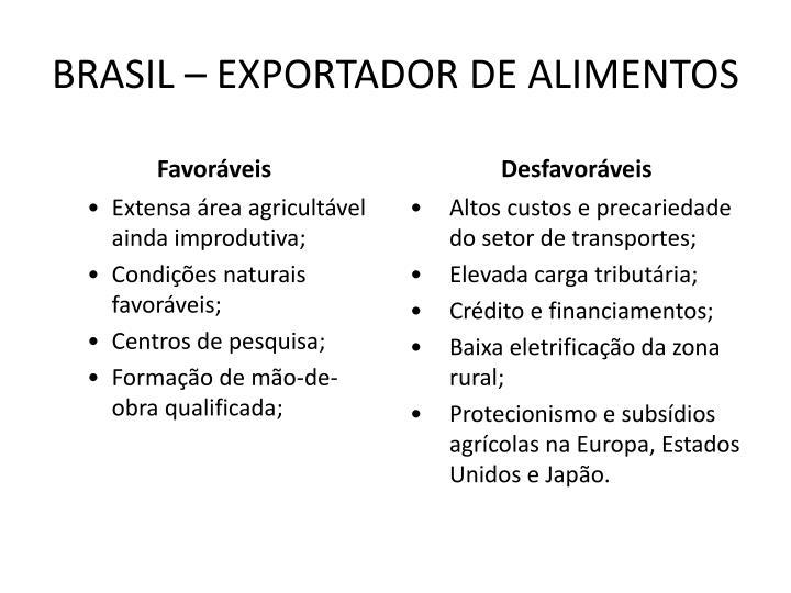 BRASIL – EXPORTADOR DE ALIMENTOS