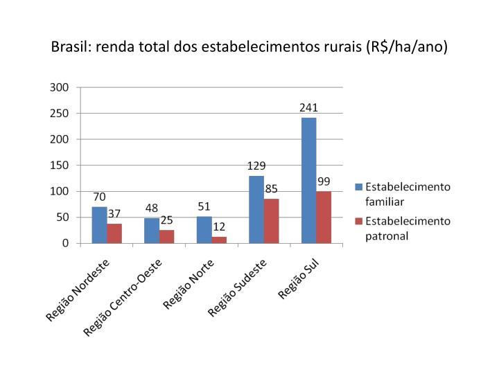 Brasil: renda total dos estabelecimentos rurais (R$/ha/ano)