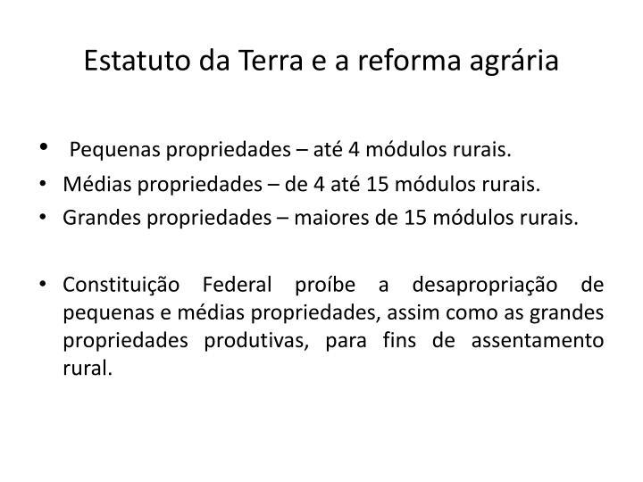 Estatuto da Terra e a reforma agrária