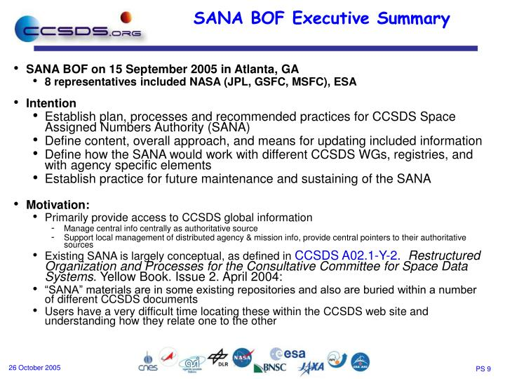 SANA BOF on 15 September 2005 in Atlanta, GA