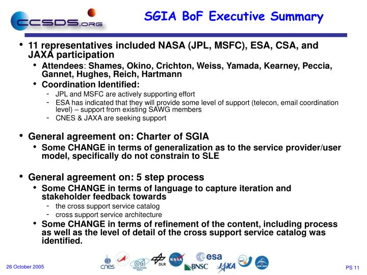 11 representatives included NASA (JPL, MSFC), ESA, CSA, and JAXA participation