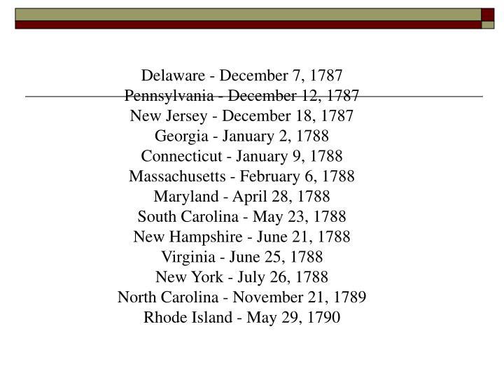 Delaware - December 7, 1787