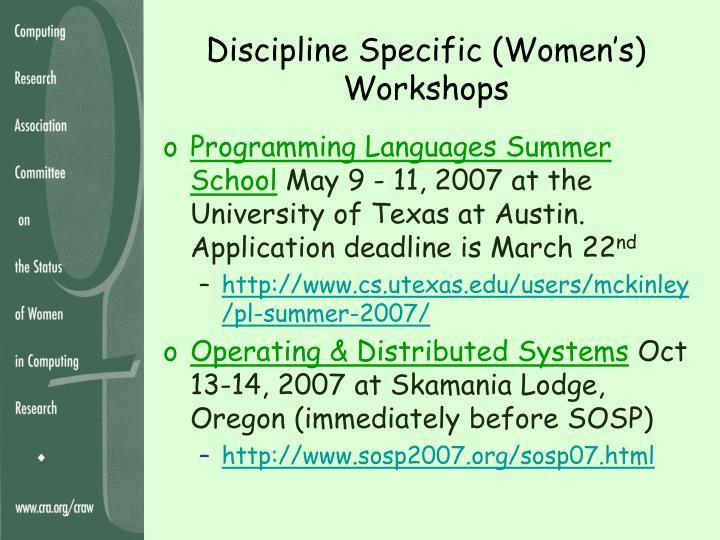 Discipline Specific (Women's) Workshops