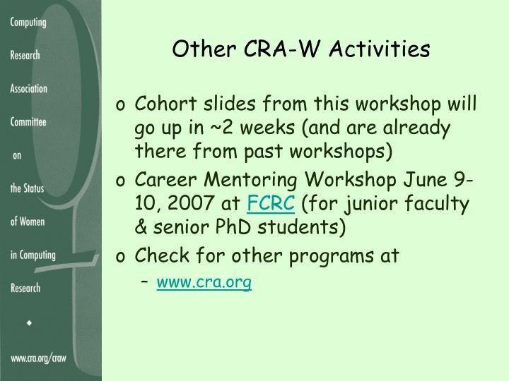 Other CRA-W Activities