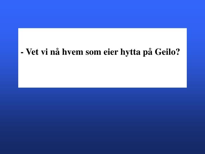 - Vet vi nå hvem som eier hytta på Geilo?