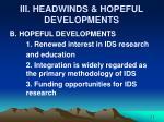 iii headwinds hopeful developments1
