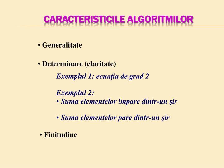 Caracteristicile
