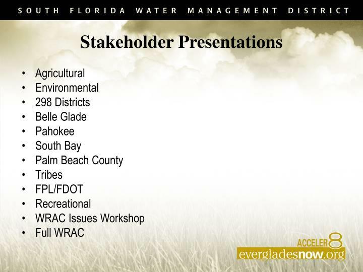 Stakeholder Presentations