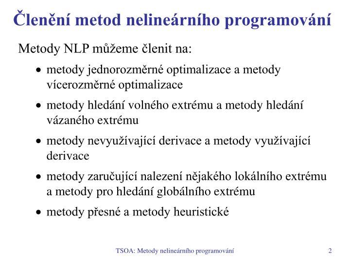 Členění metod nelineárního programování