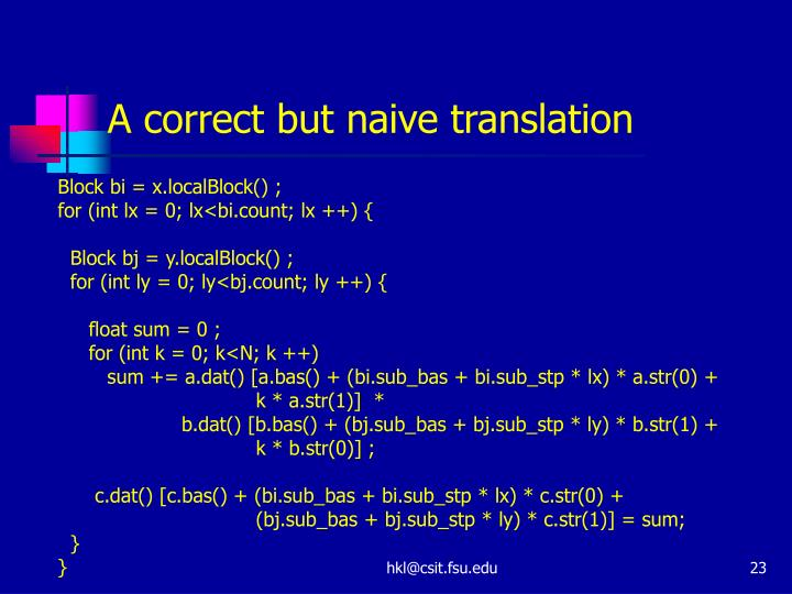 A correct but naive translation